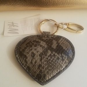 H&M Grey faux snakeskin heart shaped keychain